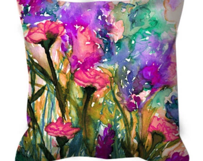FLORAL INSURGENCE 3, Pink Purple Green Flowers Abstract Art Suede Throw Pillow Cover Watercolor Spring Summer Garden Colorful Girly Decor