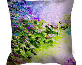 PARADISE DREAMING Cool Pastel Art Suede Throw Pillow Cover Lilac Purple Lime Green Abstract Tropical Modern Home Decor Painting Cushion
