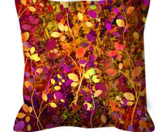 AMONGST THE FLOWERS Warm Sunset Suede Art Throw Pillow Cushion Cover 18x18 20x20 Abstract Autumn Rust Plum Floral Pattern Fall Home Decor