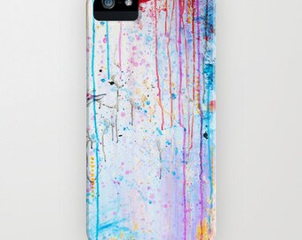 HAPPY TEARS Pastel Art iPhone 7 8 Plus X Xr Xs 11 Pro Case Samsung Galaxy S8 S9 S10 S20 S21 Rain Abstract Painting Girly Samsung Note Cover
