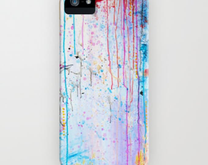 HAPPY TEARS Pastel Art iPhone 7 8 Plus X Xr Xs 11 Pro Case Samsung Galaxy Abstract Painting Design Girly Chic Whimsical Hard Plastic Cover