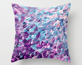 FROSTED FEATHERS Purple Blue Ombre Splash Waves Painting Art Throw Pillow Cover 16x16 18x18 20x20 Square, Spring Colorful Nature Abstract