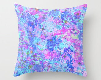 TIME FOR BUBBLY, Again Pillow Cover, 16x16 18x18 20x20 Pastel Pink Blue Purple Polyester Cushion Decorative Bubbles Abstract Art Painting