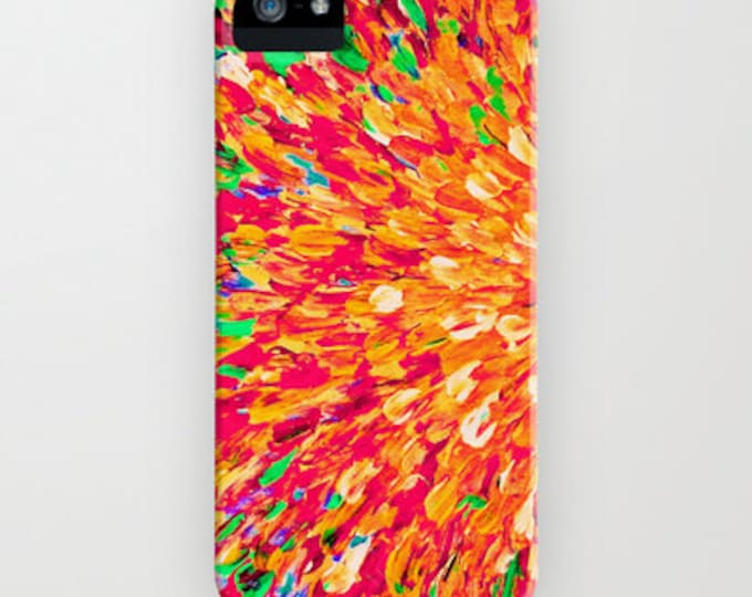 NEON SPLASH Ocean Ombre Art iPhone 7 8 X Xr Xs 11 Pro Max Case Samsung Galaxy Beach Waves Art Intense Bold Orange Tangerine Crimson Red Lime