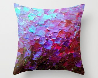 MERMAID SCALES Violet Plum Purple Decorative Throw Pillow Cover 16x16 18x18 20x20 Abstract Painting Turquoise Red Eggplant Sea Ocean Waves