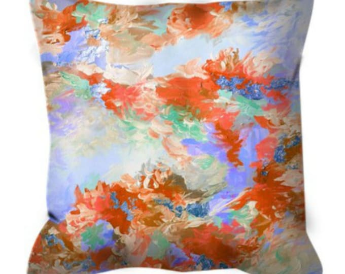 WE WERE MERMAIDS 2 Decorative Abstract Art Suede Throw Pillow Cover 18x18 26x26 Pastel Rust Orange Periwinkle Blue Lavender Ocean Sea Decor