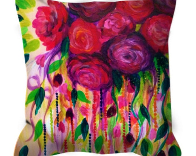 ROSES ARE RAD Floral Art Suede Throw Pillow Cushion Cover 16x16 18x18 Abstract Flowers Pink Red Romantic Flowers Girly Home Decor Painting