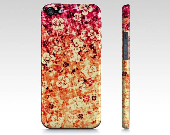 FLOWER POWER in ORANGE iPhone 11 12 Pro Case Samsung Galaxy S10 S20 S21 Case Samsung Note Magenta Ombre Abstract Art Girly Flowers Floral