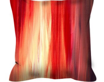IRRADIATED RED Colorful Art Suede Decorative Throw Pillow Cover Abstract Stripes Crimson Cherry Garnet Violet Purple Ombre Decor Cushion