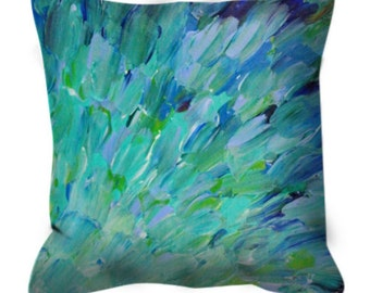 SEA SCALES Lovely Teal Ombre Decorative Suede Throw Pillow Cover Fish Underwater Waves Feathers Fine Art Abstract Painting Trend Home Decor