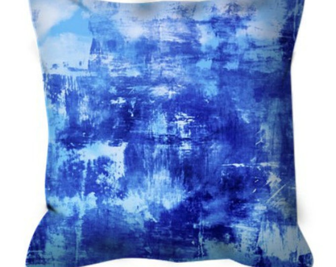 OFF THE GRID 7 Cobalt Royal Blue Suede Throw Pillow Cover 18x18 20x20 26x26 Abstract Art Coastal Ocean Nautical Cool Sea Beach Decor Cushion