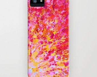 ROMANTIC DAYS Girly Pink Red Ombre iPhone 5 SE 6 7 8 X Xr Xs Max 11 Case Samsung Galaxy Case Phone Cover Bold Colorful Abstract Art Painting