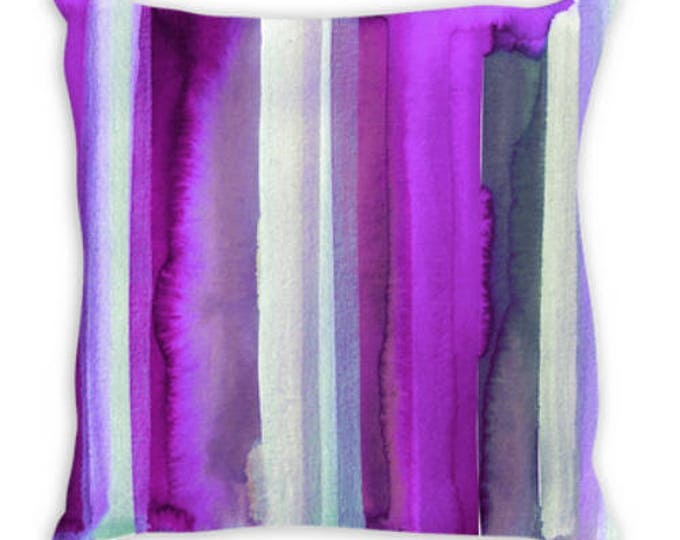 OUTSIDE THE LINES, Plum Purple Suede Throw Pillow Cushion Cover 18x18 20x20 26x26 Colorful Stripes Violet Lavender Amethyst Modern Art Decor
