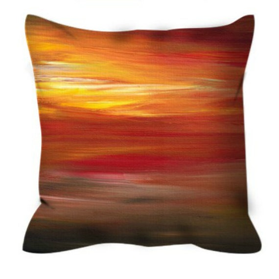 COLOR INTOXICATION 1 Colorful Art Suede Throw Pillow Cover Decorative Abstract Stripes Crimson Garnet Red Yellow Black Ombre Decor Cushion