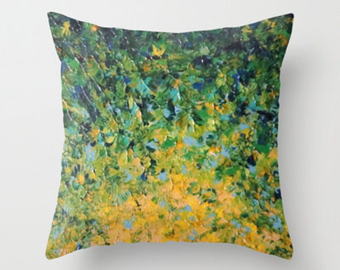 IRISH SUNRISE 16x16 18x18 20x20 Decorative Throw Pillow Cover, Bold Green Colorful Abtract Painting Art Home Decor Festive St. Patricks Day