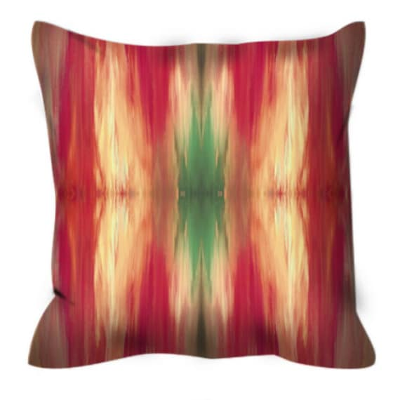 BUTTERFLY TRIBAL, Red Green Colorful Watercolor Suede Throw Pillow Cover 20x20 26x26 Abstract Winter Xmas Emerald Ikat Pattern Decor Cushion