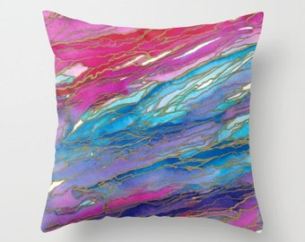 AGATE MAGIC Pink Purple Blue Gold Marble Rainbow Waves Painting Throw Pillow Cover 16x16 18x18 20x20 Square Spring Colorful Nature Abstract