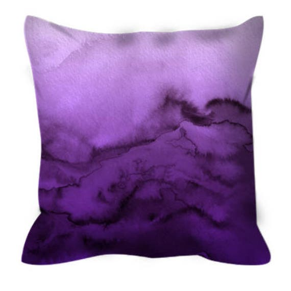 WINTER WAVES, PURPLE Ombre Abstract Pattern Art Suede Throw Pillow Cover Watercolor Jewel Tone Rich Violet Aubergine Colorful Home Decor