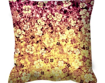 FLOWER POWER Art Suede Throw Pillow Cover Abstract Floral Pattern Pretty Plum Purple Yellow Ombre Flowers Modern Dorm Home Decor Painting