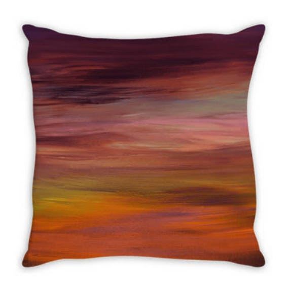 LONG GOODBYE 4 Ombre Sunset Suede Throw Pillow Cushion Cover 18x18 20x20 26x26 Colorful Autumn Fall Abstract Art Purple Orange Girly Decor