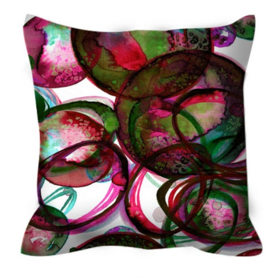 WORLDS COLLIDE Red Green, Colorful Xmas Art Suede Throw Pillow Cover 20x20 26x26 Watercolor Abstract Bubbles Winter Festive Decor Cushion