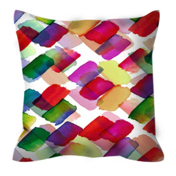 STROKES OF GENIUS 2, Rainbow Polka Dot Pattern Art Suede Throw Pillow Cover Cushion Red Green Yellow Abstract Colorful Girly Summer Decor
