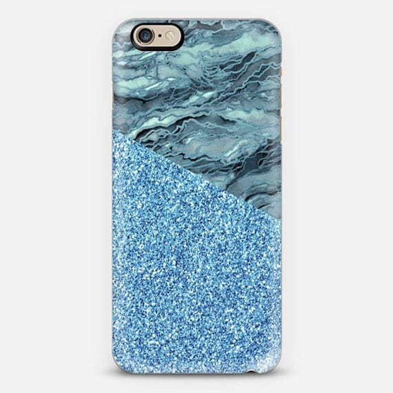 MARBLE IDEA BLUE Grey Faux Glitter Abstract iPhone 5 Se 6 7 8 X Xr Xs Max 11 Case Samsung Galaxy Plastic Phone Turquoise Gray Agate Painting