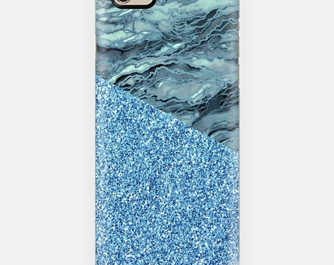 MARBLE IDEA BLUE Grey Faux Glitter iPhone 12 Pro Max 8 X 11 Case Samsung Galaxy S10 S20 S21 Samsung Note Phone Turquoise Gray Agate Painting