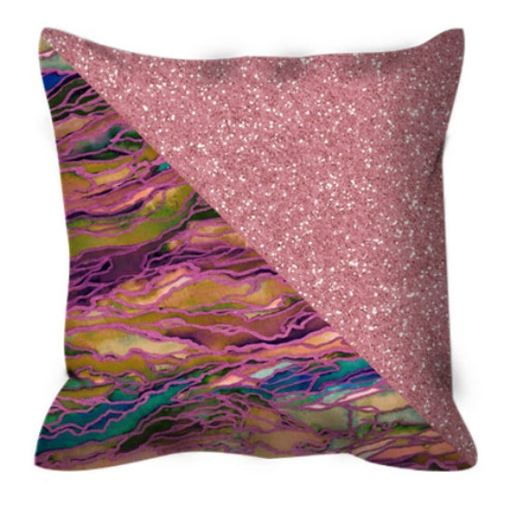 MARBLE IDEA, ROSE Gold Light Jewel Tone Watercolor Metallic Suede Throw Pillow Cushion Cover 18x18 20x20 26x26 Colorful Agate Geode Decor