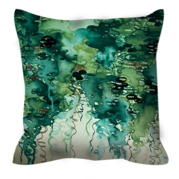 BEAUTY in the RAIN, GREEN Colorful Watercolor Art Suede Throw Pillow Cover 20x20 26x26 Abstract Greenery Emerald Teal Clouds Decor Cushion