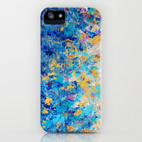 HYPNOTIC BLUE SUNSET Colorful Ocean Ombre iPhone 5 6 7 8 Plus X Xr Xs Max Case Samsung Galaxy Note Turquoise Blue Nature Abstract Painting