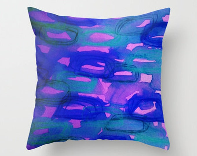 BEFORE THE DAWN - Art Decorative Throw Pillow Cover 16x16 18x18 20x20 Midnight Indigo Blue Pink Abstract Watercolor Painting Sunrise Dawn