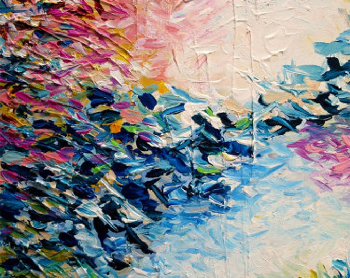 PARADISE DREAMING Fine Art Print Colorful Pastel Abstract Art Painting Textural Pink Blue Tropical Brushstrokes Nature Whimsical Wall Decor