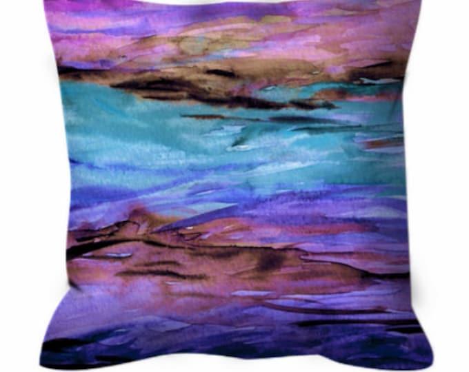 UNANCHORED 1 Aqua Purple Watercolor Art Suede Throw Pillow Cushion Cover 18x18 20x20 26x26 Ocean Ombre Design Turquoise Lavender Beach Decor