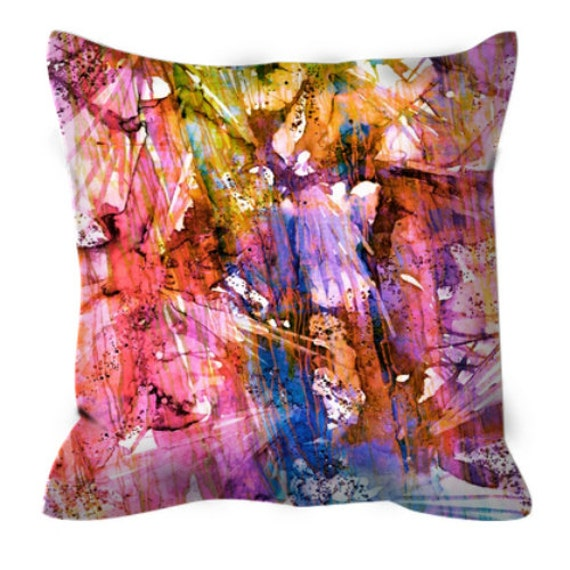 BIRDS OF PREY Caribbean Twist Suede Throw Pillow Cover Pink Yellow Blue Lilac Rainbow Pattern Art Natural Colorful Watercolor Splash Decor
