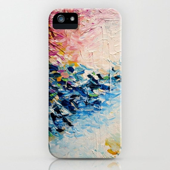 PARADISE DREAMING Girly Pastel Pink Blue White iPhone 7 8 Plus X Xs Xr 11 Case Samsung Galaxy Hard Cell Phone Abstract Ocean Waves Painting