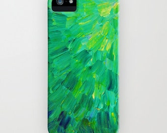 SEA SCALES in Green iPhone 13 Pro Max Case iPhone 12 iPhone 11  Samsung Galaxy Cover Neon Colorful Mermaid Fin, Feathers Abstract Painting