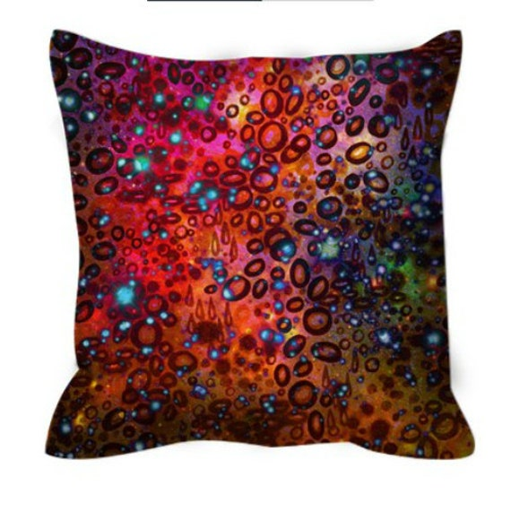RAINBOW DOTTY OCEAN Pink Red Purple Watercolor Art Suede Pillow Cover Galaxy Polka Dots Ombre Abstract Girly Galactic Decor Colorful Cushion
