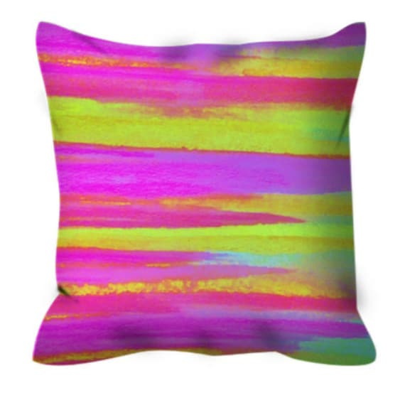 DISCO FEVER Neon Pink Green Decorative Suede Stripes Throw Pillow Cover Waves Colorful Fine Art Abstract Painting Modern Home Decor Cushion