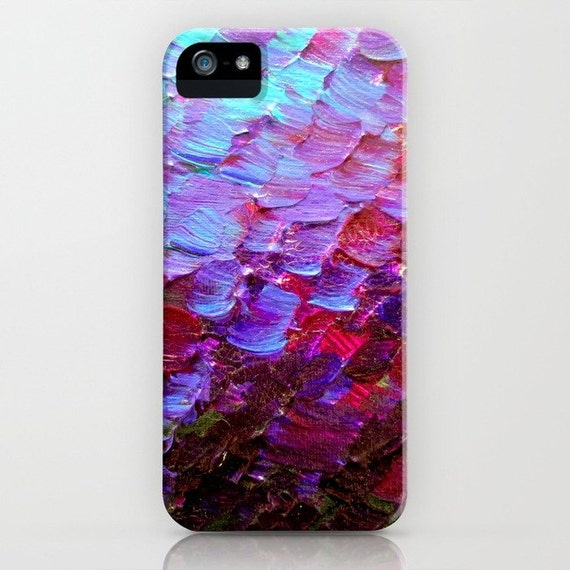 MERMAID SCALES Deep Violet Purple Red Turquoise Ombre Art iPhone Case 5 SE 6 7 8 X Xr Xs Max Samsung Galaxy Eggplant Ocean Hard Phone Cover