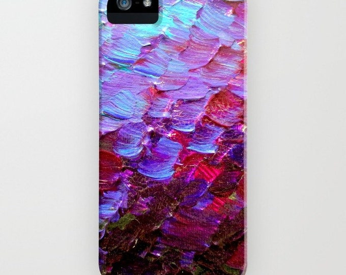 MERMAID SCALES Violet Purple Red Turquoise Ombre Art iPhone Case 11 12 Pro Samsung Galaxy S10 S20 S21 Samsung Note Ocean Waves Phone Cover