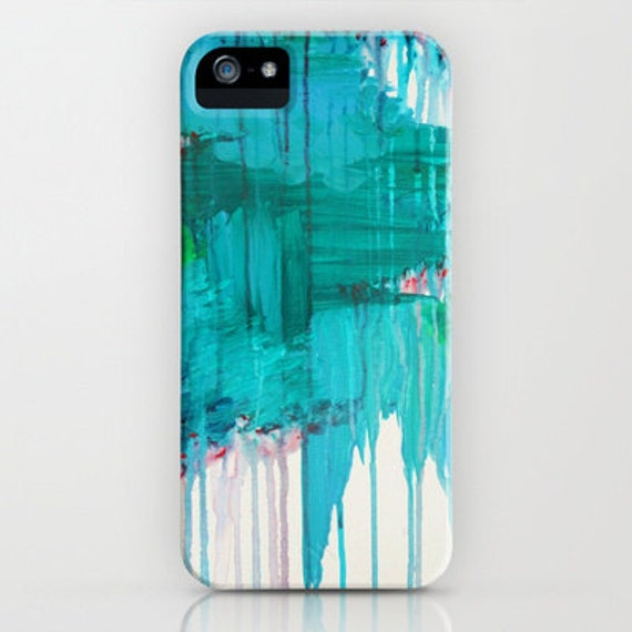 BLUE MONSOON Teal Rainy Day Art iPhone 5 SE 6 7 8 X Xr Xs Max Case Samsung Galaxy Hard Phone Cover Stylish Modern Abstract Blue Painting