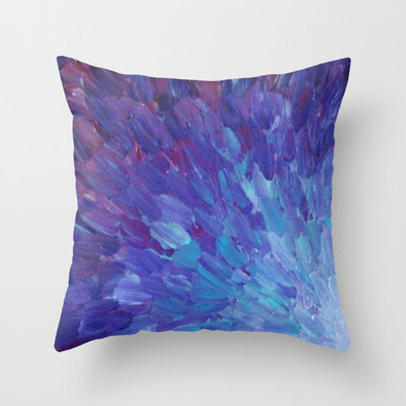 SCALES of a DIFFERENT COLOR Purple Decorative Throw Pillow Cover 16x16 18x18 20x20 Abstract Painting Blue Purple Eggplant Sea Ocean Waves