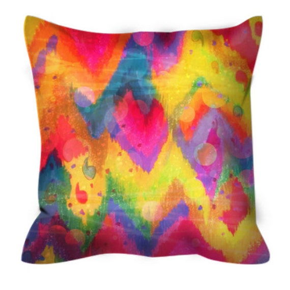 BOLD QUOTATION in Neons, Art Suede Throw Pillow Cushion Cover Abstract Magenta Hot Pink Yellow Electric Blue Chevron Pattern Dorm Home Decor