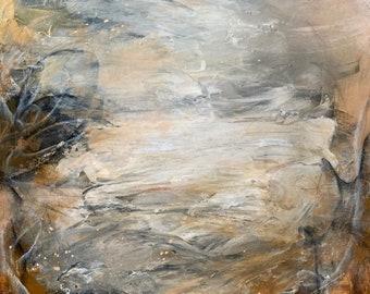 WARM INVITATION Neutral Elegant Large Painting OOAK Abstract Acrylic Painting on Canvas Modern Desert Boho Home Decor Fine Art Brown Beige