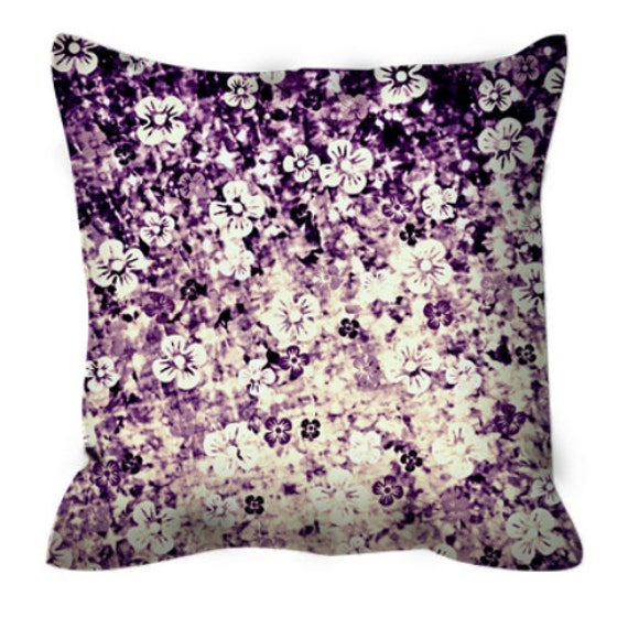 FLOWER POWER Midnight Violet, Art Suede Throw Pillow Cushion Cover 18x18 20x20 Eggplant Purple Ombre Flowers Modern Dorm Home Decor Painting