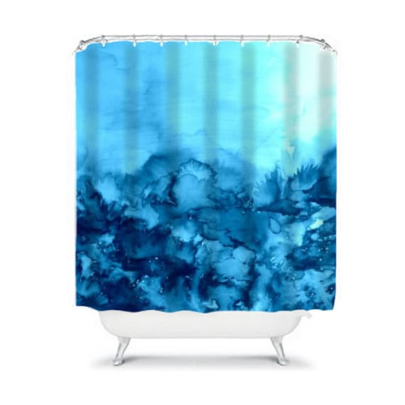 INTO ETERNITY Turquoise Fine Art Painting Shower Curtain Washable Home Decor Abstract Watercolor Colorful Aqua Indigo Blue Modern Bathroom