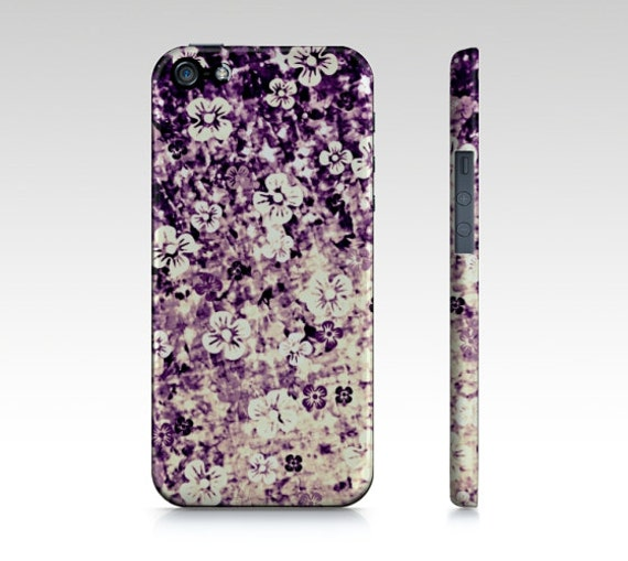FLOWER POWER in Midnight Violet iPhone 5 SE 6 7 8 X Xr Xs Max Case Samsung Galaxy Floral Cover Eggplant Purple Lavender Ombre Abstract Art