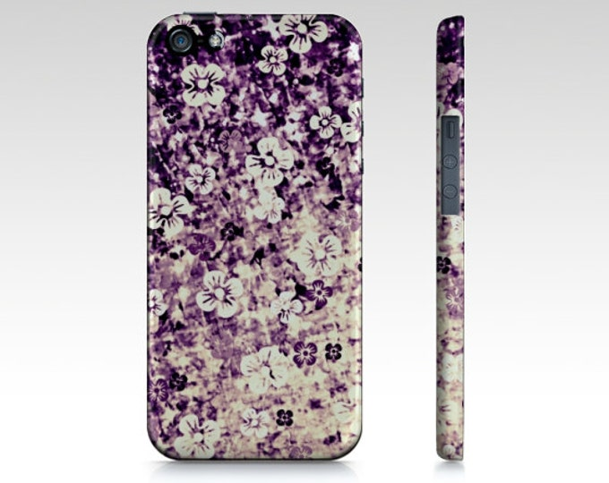 FLOWER POWER in Midnight Violet Floral iPhone 8 X Xr Xs Max 11 12 Pro Case Samsung Galaxy S9 S10 S20 S21 Samsung Note Case Purple Ombre Art
