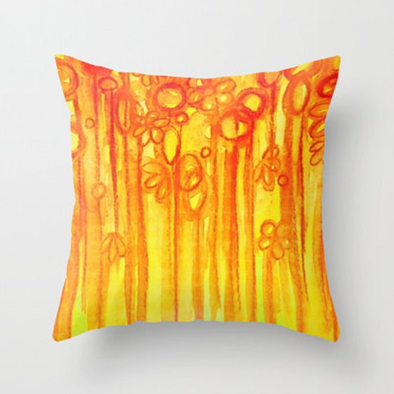 SUMMER SENTIMENTS Decorative 16x16 18x18 20x20 Throw Pillow Cover, Bright Abstract Floral Garden Summer Yellow Red Orange Flowers Painting